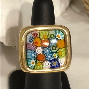 MILLEFIORI .925 &MURANO GLASS RING